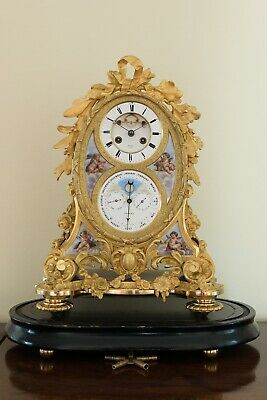 Fine last quarter of the 19th C French porcelain - mounted Ormolu mantel clock
