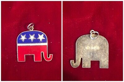 Republican National Convention USA Soft Enamel Elephant Necklace Charm Token