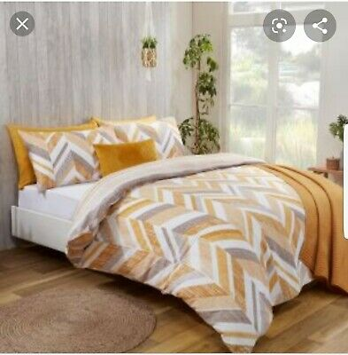 Sienna Crushed Orange Panel King Size Duvet Cover with Pillow Case Bedding Set