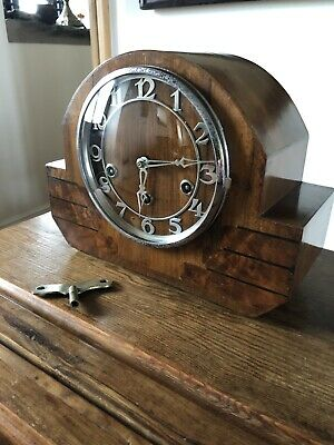 Vintage German Mantle Clock. Art Deco Westminster Chimes 8 Day GUTE Patent GWO.