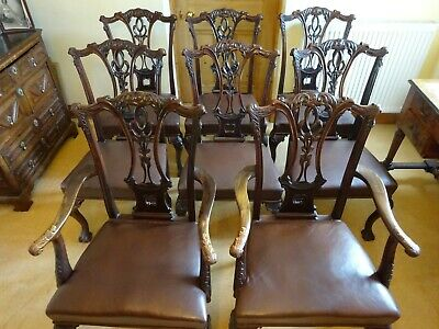 Set Of 8 X Antique Chippendale Carved Mahogany Dining Chairs