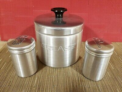 Vintage Spun Aluminum Grease Can Pot With Strainer And Salt And Pepper...