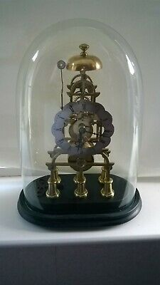 English Fusee Skeleton Mantel Clock with Glass Dome 8 Day Movement