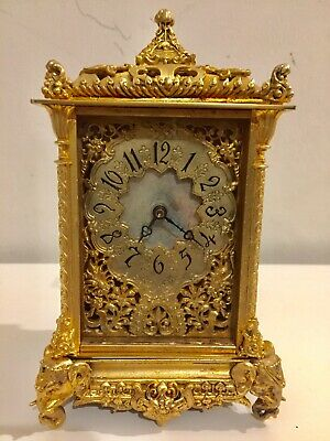 Beautiful French Gilt Timepiece Carriage Clock With Elephant Motives.