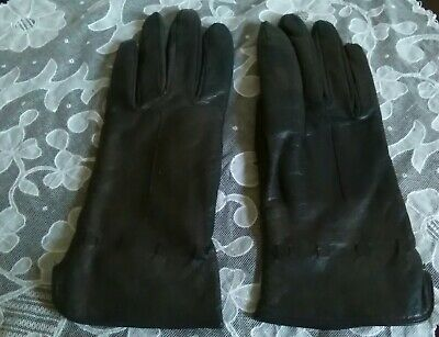 Vintage ladies pair gloves soft  leather size 7 black