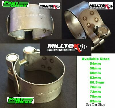 Milltek Sport Exhaust Clamp 70mm Stainless Steel Pipe Clip Securing Clamps