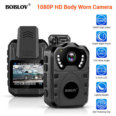 BOBLOV Body Worn Camera 1080P 32GB Storage for Police Officers 170° Wide Angle