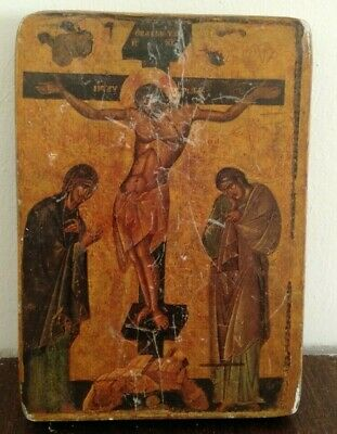 The Crucifixion of Christ Hand-Painted Icon BYZANTINE XIII century