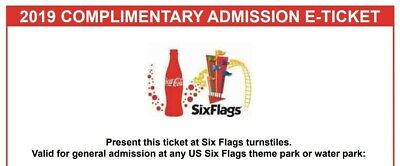 Four (4) 2019 Six Flags Theme Park Single Day General Admission Tickets.