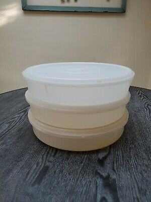 Lot Of 3 Vintage Tupperware Round Pie Taker Dessert Containers With Lids #242