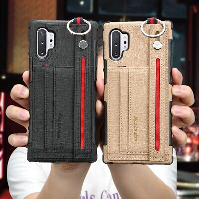 For Samsung Note 10 Plus Luxury Slim Canvas Card Wallet Handle Strap Case Cover