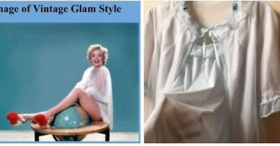 """Vtg 1960's Double Layer Baby Blue Nylon Lacy Babydoll Nightie Negligee Set 40"""""""