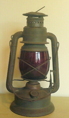 Antique Vintage Dietz Little Wizard Railroad Lantern with Red Globe