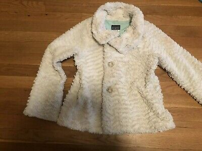 EUC Girls Patagonia Cream Faux Fur Jacket - Size L - 10