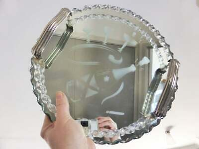 Art Deco Mirrored Drinks Tray, Frosted Detail, Bevelled Edges & Chrome Handles