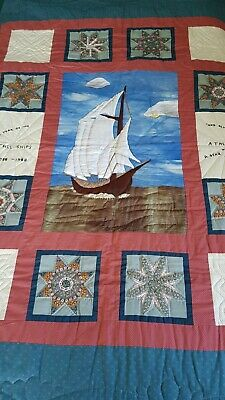 Vintage Patchwork Quilt TALL SHIPS Handmade Hand Quilted 1988 John Masefield