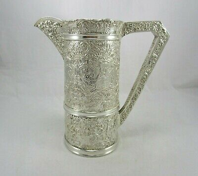Antique Barbour Silver Repousse Lrg Silver Plate Dutch Scene Water Wine Pitcher