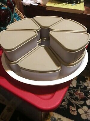 Tupperware 11 Piece Triangle Pie Wedge Container w/Lids on Lazy Susan - Beige