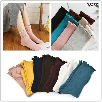 Sweet Spring Pure Color Cotton Lace Ruffles Women Girls Lovely Frilly Edge Socks