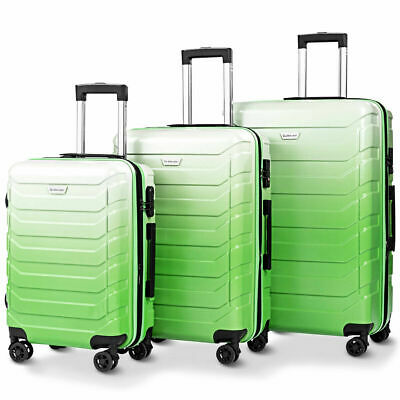 3PCS Outdoor Travel Luggage Set Expandable Suitcase Utility TSA Lock ABS Green