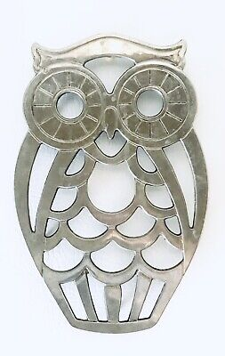 MCM Owl Trivet Leonard Silverplate Made in Italy Vintage Retro Wall Hanging 1970