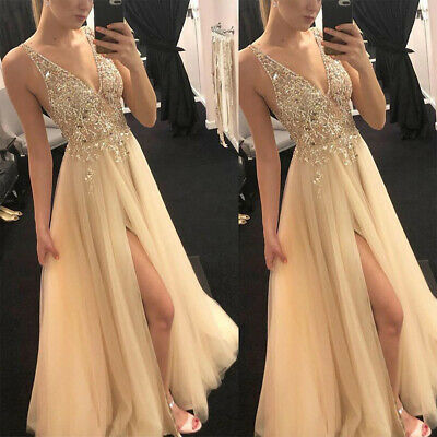 Women Formal Ball Gown Prom Evening Party Wedding Bridesmaid Sequins Long Dress