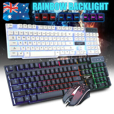 Mechanical Feel Gaming Keyboard & Mouse USB Wired Rainbow Backlit PS4 PS3 Xbox