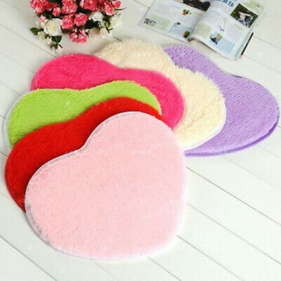 Love Heart Shaped Faux Fur Fluffy Anti-Skid Area Rug Carpet Bedroom Floor Mat
