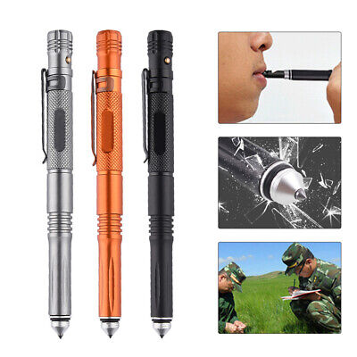 Tactical Pen LED Torch Self Defense Glass Breaker Tool With Survival Whistle
