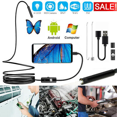 5M HD Waterproof USB Endoscope Inspection 6 LED Camera Android Mobile Phone PC