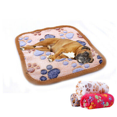 Soft Fleece Pet Dog Blanket Winter Dog Cat Bed Mat Paw Print Puppy Cushion Pad