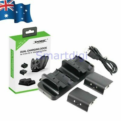 Dual Charging Station Dock Stand + 2 Batteries For Xbox One Wireless Controller