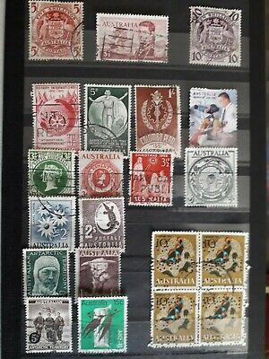 Job Lot of old Australian - Postage Stamps - Used - Australia collection 2 pages