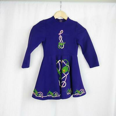Girl's Irish Dancing Dress Purple Embroidered Tailor Made in Ireland Est 6-7 yrs