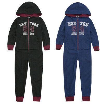Boys Girls Varsity All In One Hooded Fleece Onezee Kids Unisex Zipped Jumpsuit