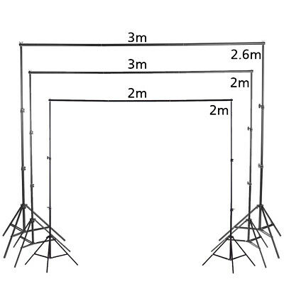 Photography Stand Background Studio Screen Support Adjustable Height + 3 Clamps