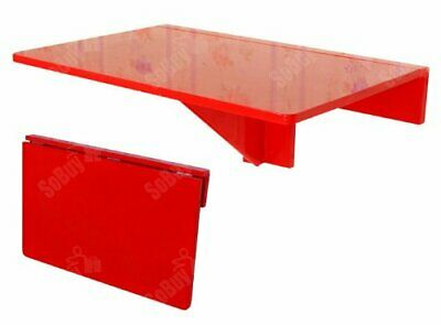 Wall Mounted Computer Desk Floating  Table Space Saving Storage Work Shelf RED