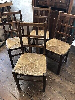 Heals Style - Arts And Crafts Rush & Wooden Chairs - Antique X4