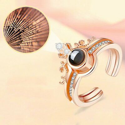 100 Languages I Love You 2 in 1 Crown Light Projection Knuckle Finger Ring Gift