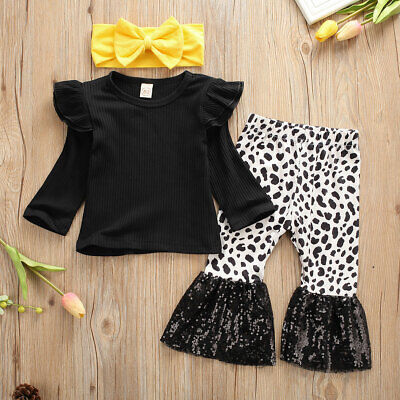 UK Toddler Kid Baby Girl Winter Clothes Top T-shirt Flared Pants 3pcs Outfit Set