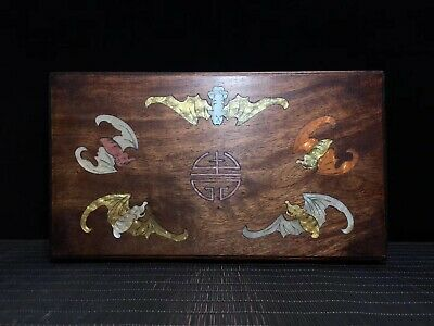 "12"" Chinese old Hand carved huanghuali wood inlay shell Five bat Storage box"