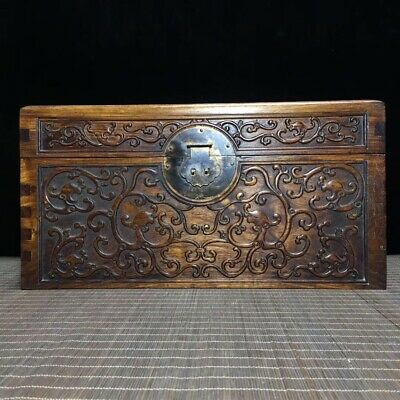 "15"" Chinese old antique hand carved huanghuali Wood dragon Jewelry Storage box"