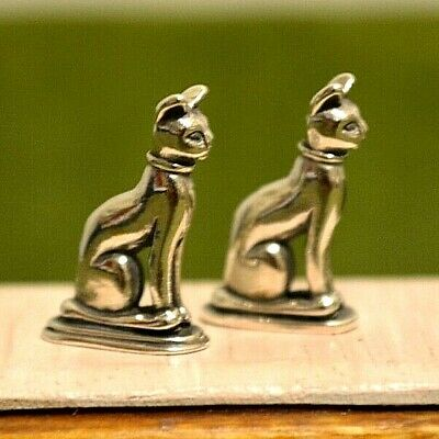 Miniature Sterling Silver Bookends Dollhouse 1:12 Cat Pair