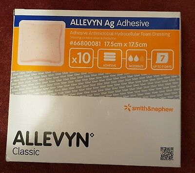 Allevyn Ag Classic Adhesive. 10 sheets 17.5x17.5cm #66800081