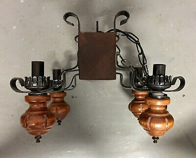 Antique Vintage Medieval Gothic Large 4 Light Chandelier Hanging Ceiling Light