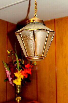 Antique French Vintage Brass Pendant Light Ceiling Lamp Decorated Golden Glass