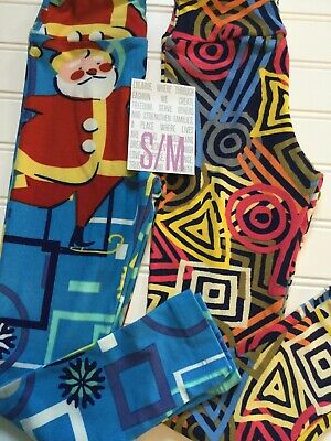 Lularoe 2 Pack Of Kids Leggings S/m Kids Size 2-8 Santa +cooll Design Brand New