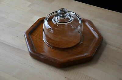 Mid-Century Danish Modern Dolphin Teak vintage Cheese board & glass Dome MCM