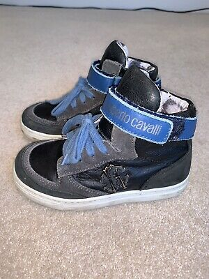 Roberto Cavalli Boys High Top Leather Navy Blue Velcro Lace Trainers EU 29 11UK