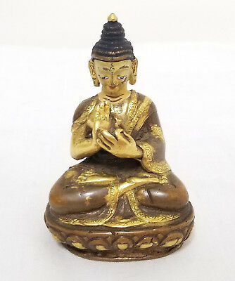 Antique Chinese Parcel Gilt Bronze Buddha Statue Figure Tibetan Miniature
